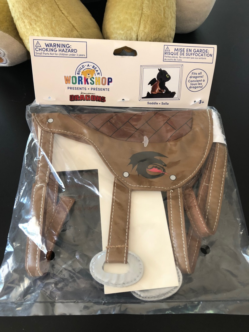 "Build-a-Bear Workshop's dragon saddle accessory from ""How to Train Your Dragon"""